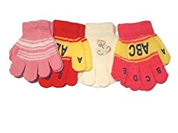 4fmg1.011, Set of Four One Size Microfiber Magic Gloves Very Warm Gloves for Infants and Toddlers Ages 1-3 Years