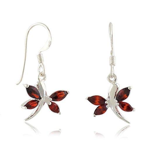 Little Red Garnet Dragonfly Dangle Hook Earrings