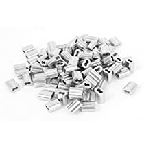 uxcell 1/16-inch Wire Rope Aluminum Sleeves Clip Fittings Cable Crimps 100pcs