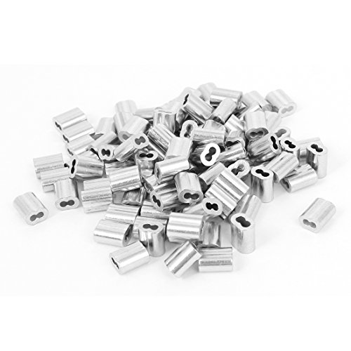 uxcell 1/16-inch Wire Rope Aluminum Sleeves Clip Fittings Cable Crimps 100pcs (Wire Rope Cable compare prices)