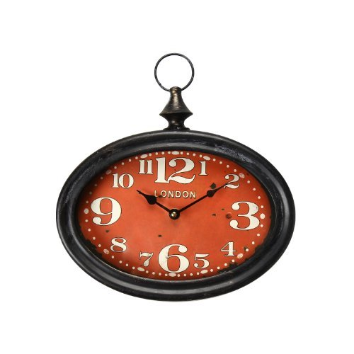 Adeco Black Iron Vintage-Inspired Retro Pocket Watch Style Wall Hanging Clock Large Numbers Red Face Home Decor