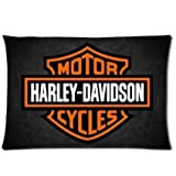 Chetery Fashion Harley Davidson Logo Printed Best Gifts Decorate Pillowcase Custom Pillowcase Soft Pillow Case Zippered Pillow Case Cover in Roomy Size20*30 inches(Two side) Fashion Design