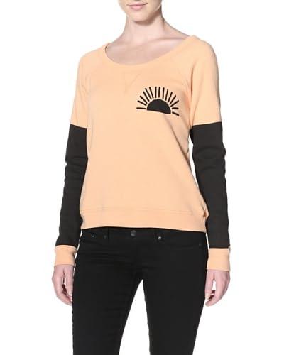 Day By Day Women's Colorblock Sweatshirt  - Peach Honey