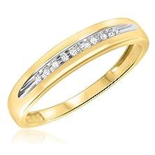 buy 1/15 Ct. T.W. Round Cut Diamond Men'S Wedding Band 10K Yellow Gold- Size 10.75
