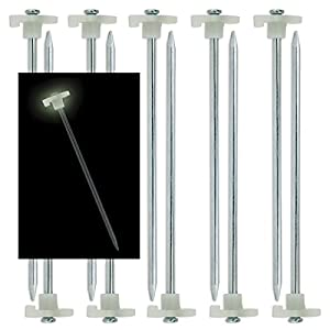 "10pc Glow-in-the-Dark Tent Stakes - 10.5"" Steel Peg"