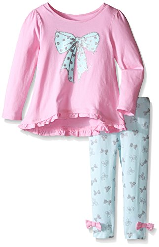 The Children's Place Baby-Girls Long Sleeve Bow Printed Set, Crystal Mint, 3T