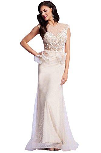 77e311ac86 Mac Duggal Embellished Sheer Illusion Peplum Prom Evening Gown Dress
