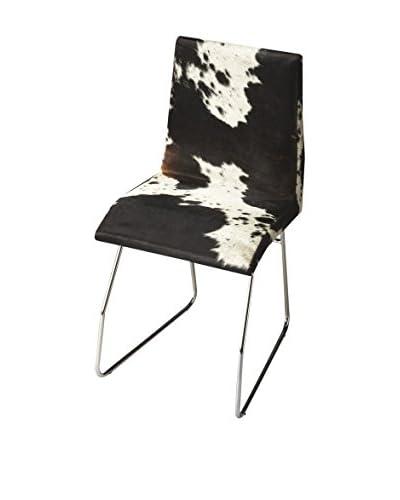 Butler Side Chair, White/Black/Chrome