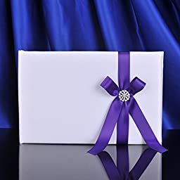 Topwedding White Guest Book with Purple Ribbon Bow and Brooch