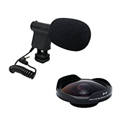 Opteka VM-8 Directional Mini-Shotgun Microphone with Opteka Platinum Series 37mm 0.3X HD Ultra Fisheye Lens for Professional Video Camcorders