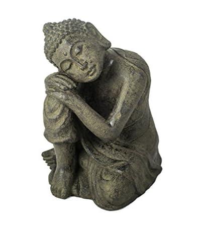 My Spirit Garden Volcanic Ash Buddha Resting on Knee, Antique Brown