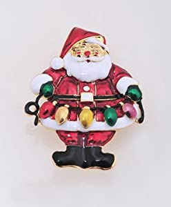 Santa Clause with candle Belt Pin Brooch