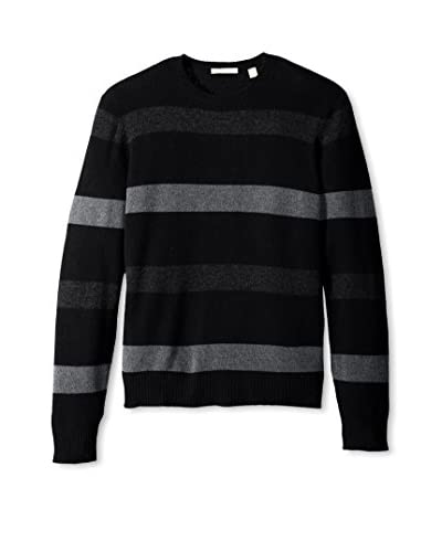 Cashmere Addiction Men's Wide Stripe Crew Neck Sweater