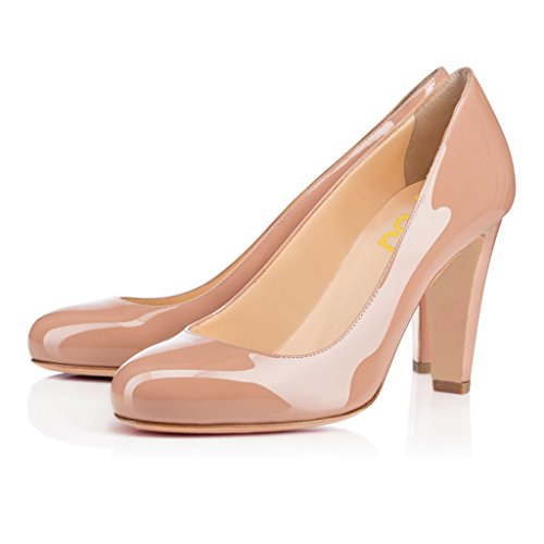 FSJ Fashion Women's Round Toe Pumps Chunky Heels Slip on Party Shoes Patent Leather Size 13 Nude-Patent