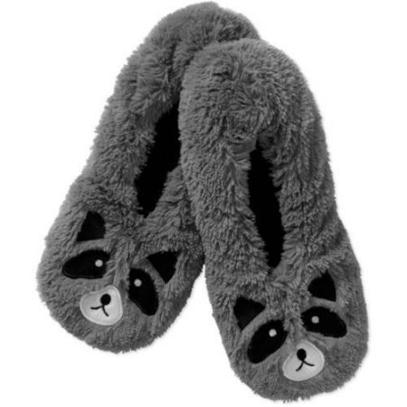 Women Slippers Socks Grey Raccoon Small-Medium