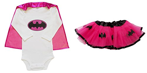 [So Sydney Baby, Infant Girl Superhero Onesie with Detachable Cape & Tutu Skirt (M (6-12 Months), Batgirl - Hot Pink &] (Baby Girl Marvel Costumes)