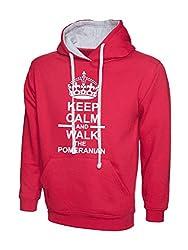 Keep Calm And Walk The Pomeranian Dog Hot Pink Contrast Hoody