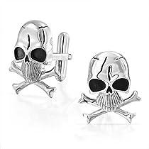 Bling Stainless Steel Mens Biker Pirate Skull and Crossbones Cufflinks