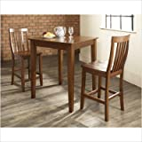 3-Piece Pub Dining Set with Tapered Leg and School House Stools in Classic  ....