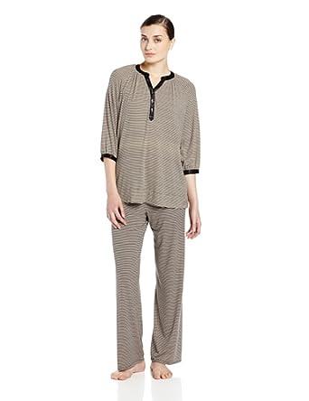 Midnight by Carole Hochman Women's Keep Me Close Long Sleeve Pajama Set, Midnight Stripe Black, X-Large