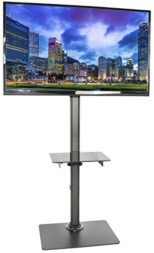 VIVO Black Steel and Glass Shelf TV Presentation Floor Stand LCD LED Plasma Flat Screen Stationary Mount (STAND-TV08) (Portable Lcd Stand compare prices)