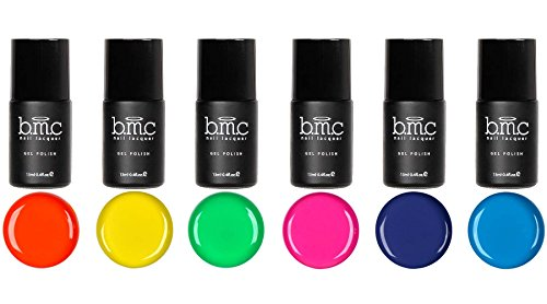 BMC 6pc Bright and Loud Cream Gel Lacquer Polishes - Neon Wasteland Master Set (Neon Gel Nail Polish compare prices)