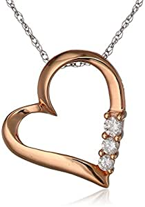 10k Rose Gold and Diamond Three-Stone Heart Pendant Necklace (0.1 cttw, I-J Color, I2-I3 Clarity), 18""