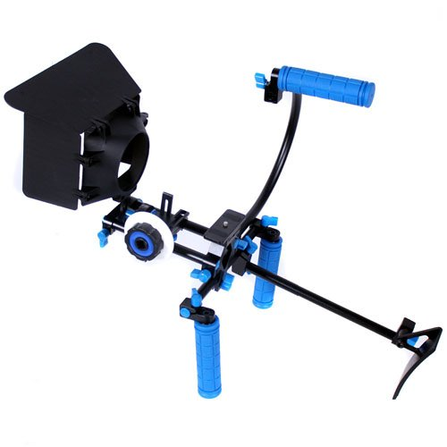 CowboyStudio Camcorder DSLR Shoulder Mount Rig Support 2 Hand & Follow Focus & Matte Box & Top Handle & C Cage for DSLR Canon Nikon Sony