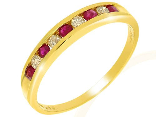 Ivy Gems 9ct Yellow Gold Ruby & Diamond Channel Set Half Eternity Ring