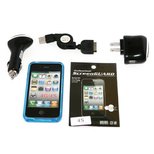 Cell Factory Outlet Brand  High Quality iphone 4/4s Blue Flexible Argyle Tpu Case, Car Charger, Home Charger, Sync Cable, Screen Protector Combo Pack