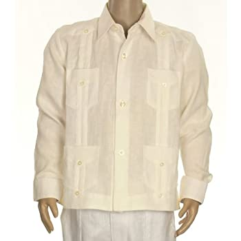 Boys linen guayabera shirt in ivory. Final sale