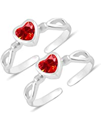 MJ 925 Graceful Heart CZ In 92.5 Sterling Silver Toe Rings For Women And Girls