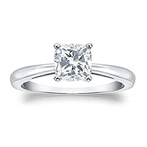 Platinum Cushion Diamond Solitaire Ring 4-Prong (1/3 cttw, G-H Color, SI1-SI2 Clarity), Size 6