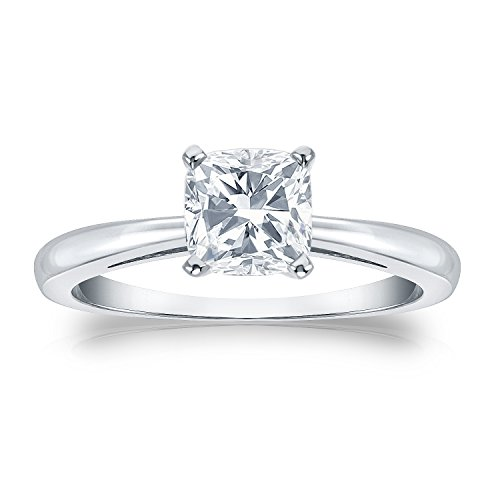 Platinum Cushion Diamond Solitaire Ring 4-Prong (1/3 Cttw, G-H Color, Si1-Si2 Clarity), Size 5