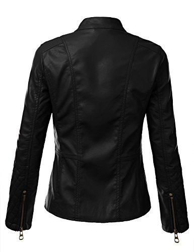 J.TOMSON Womens Faux Leather PU Moto Jacket faux leather moto jacket with buckle belt