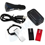 Multi Color Bluetooth Headset for all iPhone 5 5s 5c 4 4s 3G and 3Gs with 3 Changeable Face Plates Black Red and Silver with Free Wall and Car Charger.