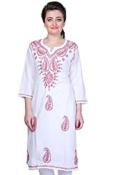 ADA Lucknowi Chikan Handcrafted Ethnic Wear Casual Kurti Dress for Women A90090