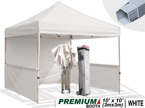 Eurmax Premium 10X10 Trade Show Tent Event Canopy Market Stall Canopy Booth Outdoor Canopy Bonus: Four (4) Weight Bags + One (1) 10Ft Awning+Roller Bag (White) front-789613