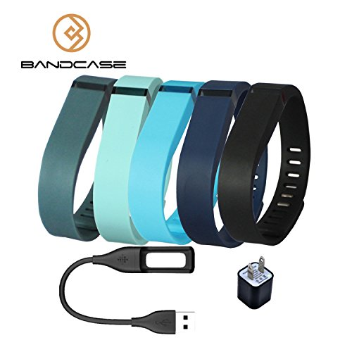 Bandcase Set Size Large Multicolor Combinational Replacement Bands with Clasps a Charge Cable and a Charging Adapter for Fitbit Flex Only /No Tracker/ Wireless Activity Bracelet Sport Wristband Fit Bit Flex Bracelet Sport Arm Band Armband (Navy Blue+Blue+Black+Slate+Teal, Large)