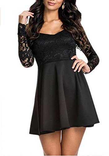 NuoReel Women's Lace Bodice Skater Dress (Small, black)