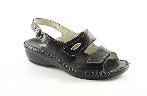 FLORANCE 22595 nero scarpe donna sandali pelle strappi comfort 38