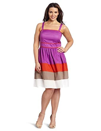 Jessica Simpson Women's Plus-Size Colorblock Sundress, Dewberry, 12W