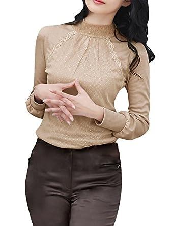 Allegra K Woman Mesh Panel Front Pullover Casual Slim Top Shirt