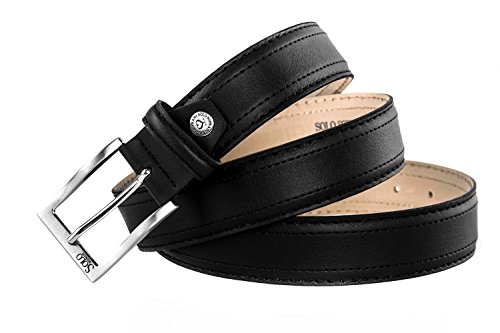 Cintura uomo SOLO SOPRANI nera cinta casual con impunture lunga 120 cm R5240