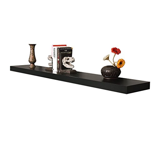 WELLAND 60-Inch Mission Floating Wall Shelf, Black