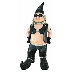 Gnoschitt And Gnofun Pair Of Biker Garden Gnomes Statue Motorcycle Leather  32 Inch Figures