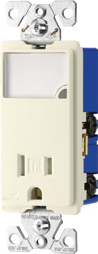 Cooper Wiring Devices Tr7735La-Box 3-Wire Receptacle Combo Nightlight With Tamper Resistant 2-Pole, Light Almond front-888056