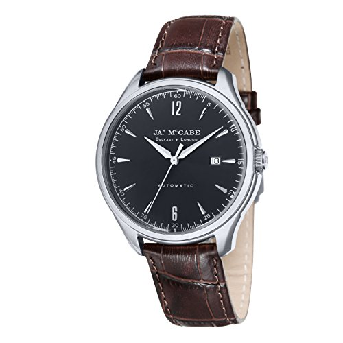 James McCabe Master Watch with Rose Gold Plated Case Black Dial and Brown Genuine Leather Strap