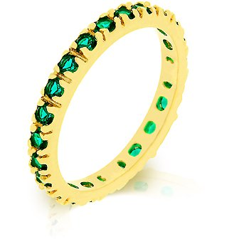 14k Gold Bonded Eternity Ring with Channel Set CZ Emerald
