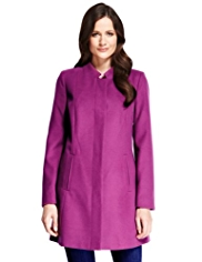 M&S Collection Notched Collar Coat with Buttonsafe™